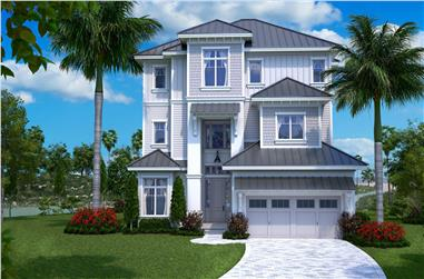 Color photo-realistic rendering of Beachfront home plan (House Plan #175-1137)