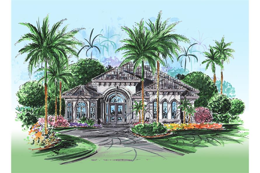 Front elevation of Mediterranean home plan (ThePlanCollection: House Plan #175-1138)
