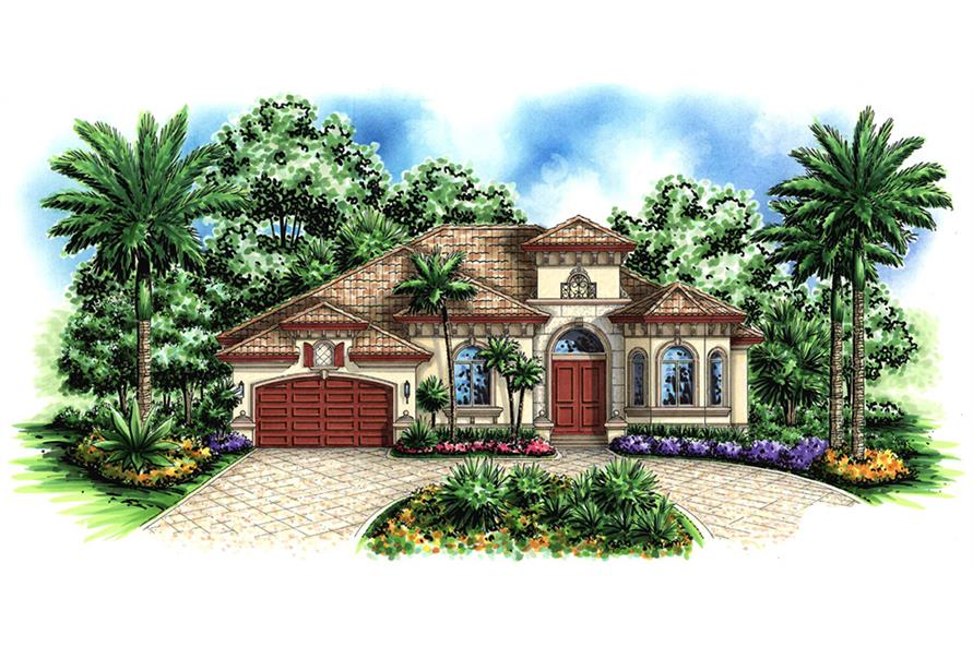 Front elevation of Mediterranean home (ThePlanCollection: House Plan #175-1139)