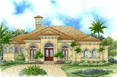 3-Bedroom, 3043 Sq Ft Mediterranean House Plan - 175-1140 - Front Exterior