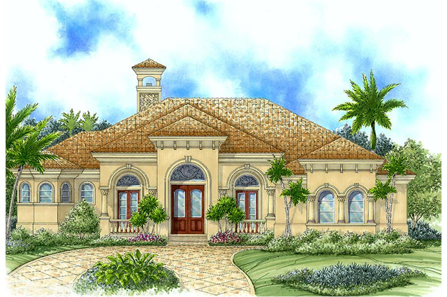 Front elevation of Mediterranean home (ThePlanCollection: House Plan #175-1140)