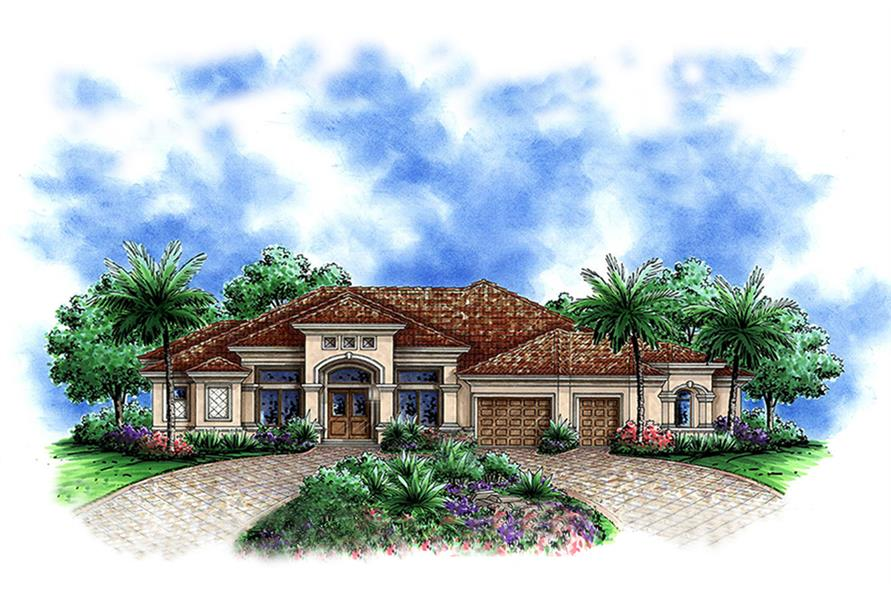 Front elevation of Mediterranean home (ThePlanCollection: House Plan #175-1141)