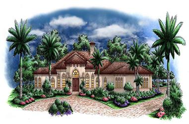 3-Bedroom, 3402 Sq Ft Mediterranean House Plan - 175-1143 - Front Exterior