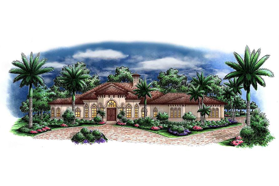 Front elevation of Mediterranean home (ThePlanCollection: House Plan #175-1143)