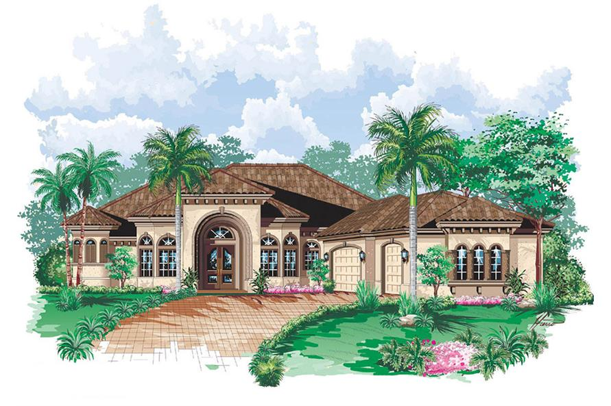 3-Bedroom, 3650 Sq Ft Mediterranean House Plan - 175-1145 - Front Exterior