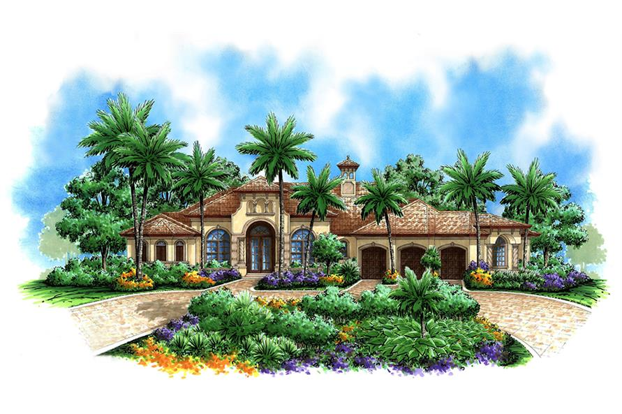3-Bedroom, 3859 Sq Ft Mediterranean House Plan - 175-1147 - Front Exterior