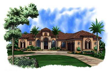 4-Bedroom, 4159 Sq Ft Mediterranean House Plan - 175-1148 - Front Exterior