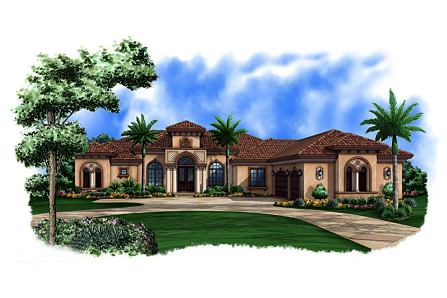 Front elevation of Mediterranean home (ThePlanCollection: House Plan #175-1148)