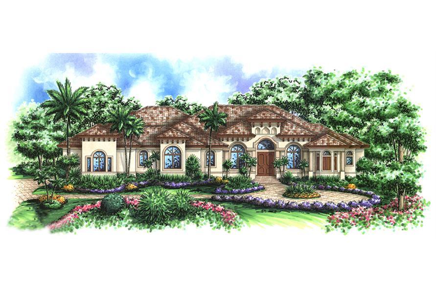 3-Bedroom, 4354 Sq Ft Mediterranean House Plan - 175-1149 - Front Exterior