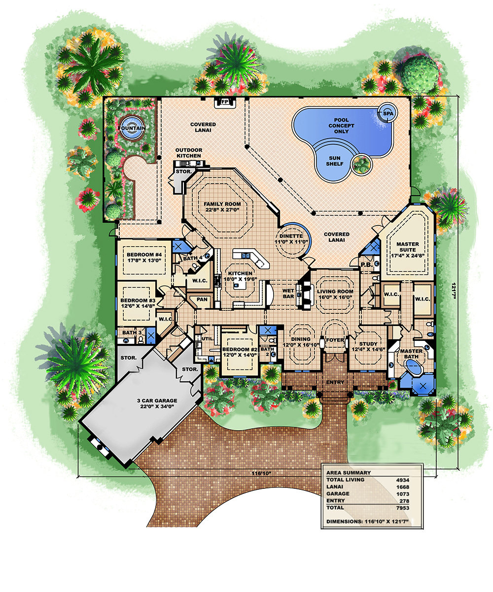 4 bedrm 4934 sq ft tuscan house plan 175 1150 for 1150 sq ft house plans