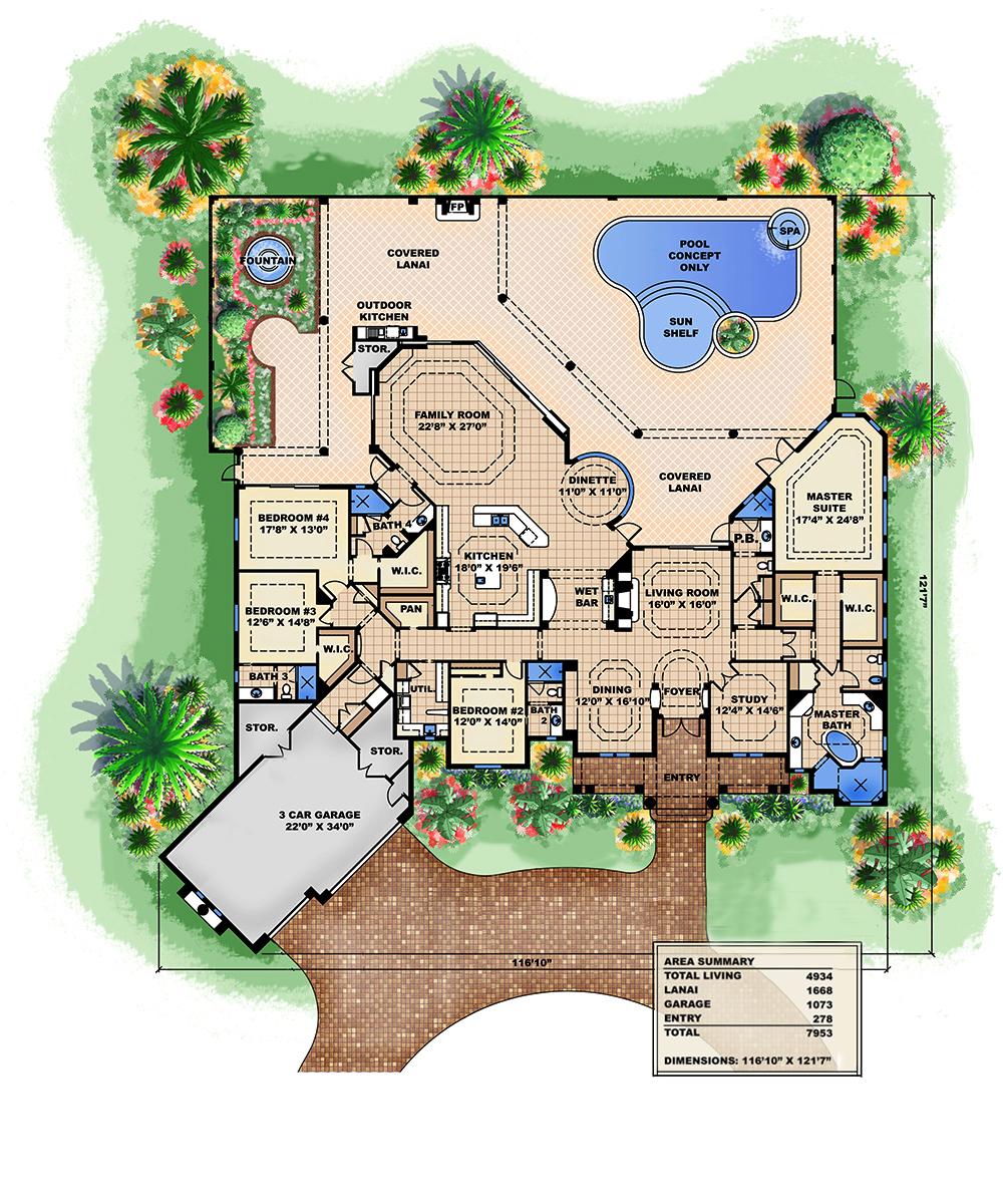 4 Bedrm 4934 Sq Ft Tuscan House Plan 175 1150