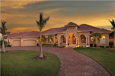 Photo-realistic rendering of Mediterranean home (ThePlanCollection: House Plan #175-1150)
