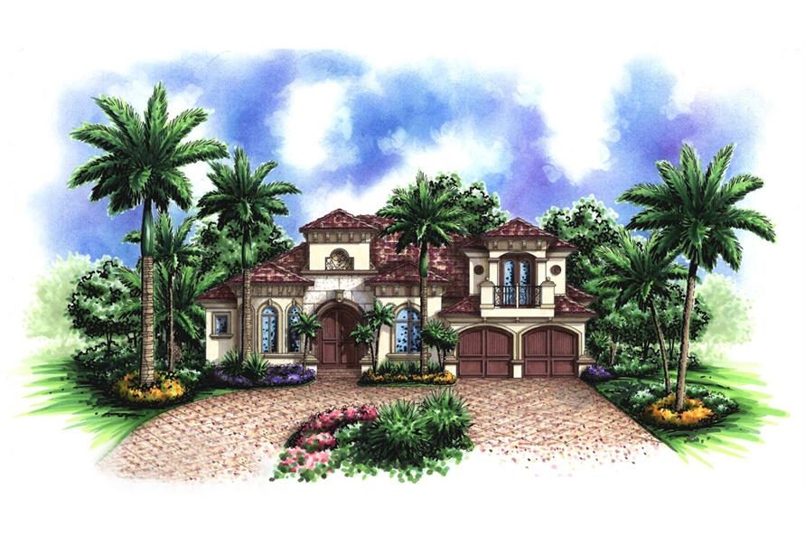 Front elevation of Mediterranean home (ThePlanCollection: House Plan #175-1151)