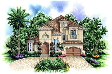 3-Bedroom, 3277 Sq Ft Tuscan House Plan - 175-1152 - Front Exterior