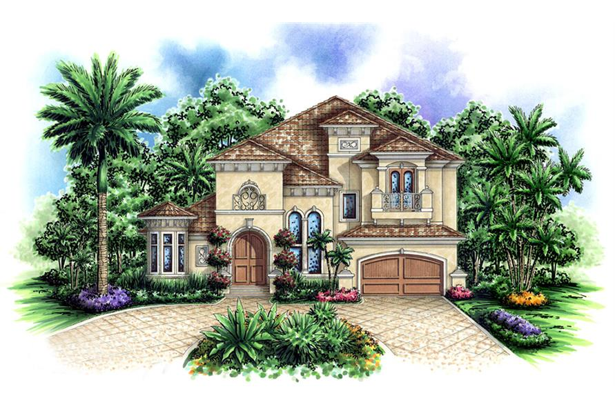 Front elevation of Tuscan home (ThePlanCollection: House Plan #175-1152)
