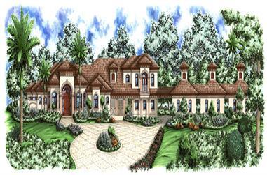 4-Bedroom, 3472 Sq Ft Mediterranean House Plan - 175-1154 - Front Exterior