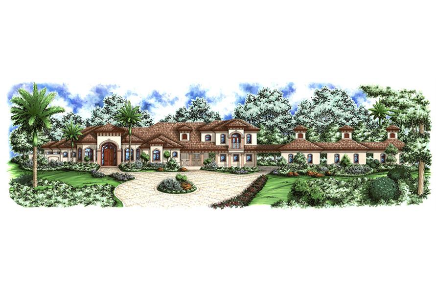 Front elevation of Mediterranean home (ThePlanCollection: House Plan #175-1154)