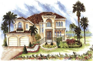 4-Bedroom, 3580 Sq Ft Mediterranean House Plan - 175-1155 - Front Exterior