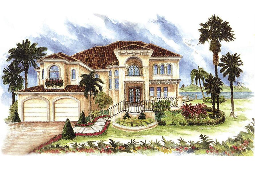 Front elevation of Mediterranean home (ThePlanCollection: House Plan #175-1155)