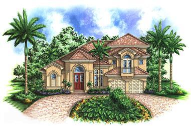 3-Bedroom, 3676 Sq Ft Mediterranean Home Plan - 175-1156 - Main Exterior