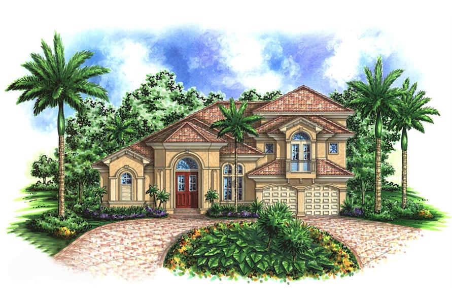 Front elevation of Mediterranean home (ThePlanCollection: House Plan #175-1156)