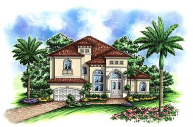 3-Bedroom, 3736 Sq Ft Mediterranean Home Plan - 175-1157 - Main Exterior