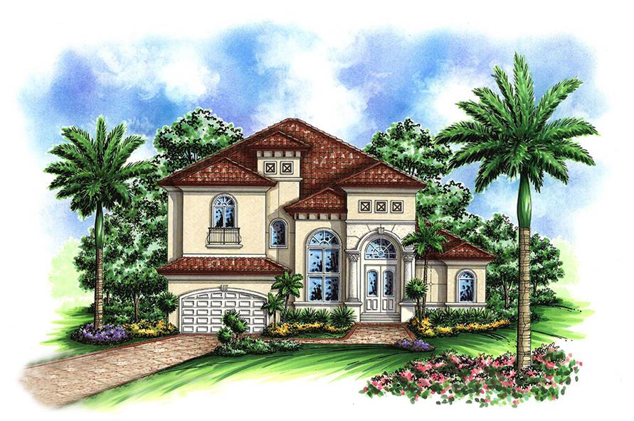 Front elevation of Mediterranean home (ThePlanCollection: House Plan #175-1157)