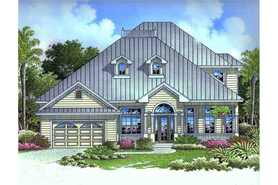 Front elevation of Florida Style home (ThePlanCollection: House Plan #175-1159)