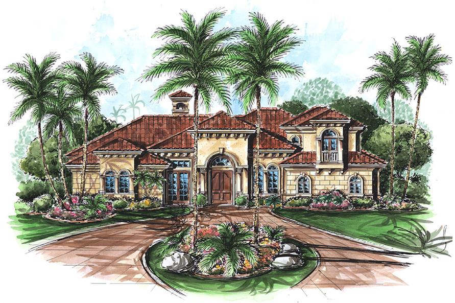 Front elevation of Mediterranean home (ThePlanCollection: House Plan #175-1160)