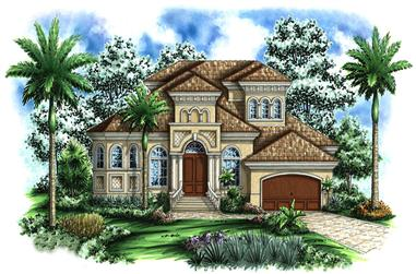 4-Bedroom, 4105 Sq Ft Tuscan House Plan - 175-1161 - Front Exterior