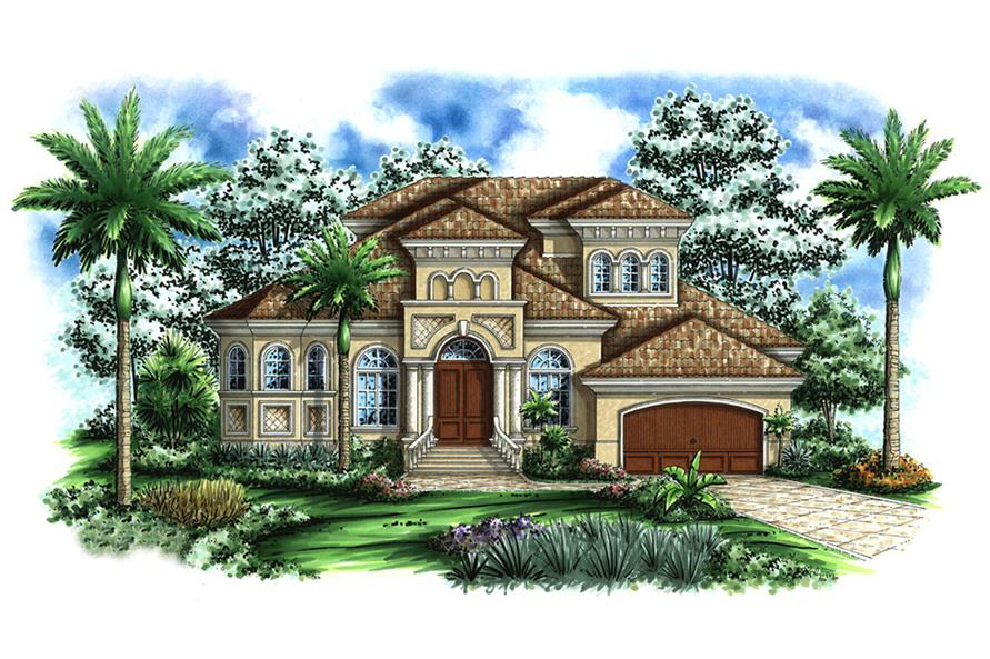 Front elevation of Tuscan home (ThePlanCollection: House Plan #175-1161)