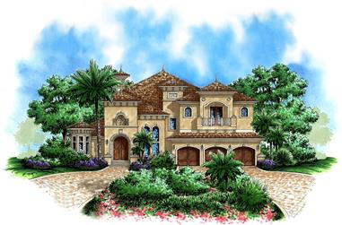 Front elevation of Mediterranean home (ThePlanCollection: House Plan #175-1162)