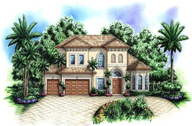 3-Bedroom, 4218 Sq Ft Coastal House Plan - 175-1163 - Front Exterior
