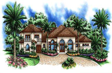 Front elevation of Mediterranean home (ThePlanCollection: House Plan #175-1164)