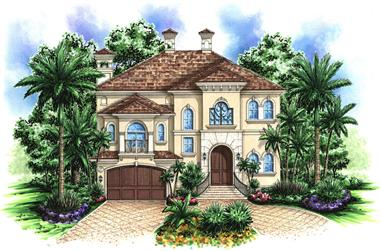 Front elevation of Mediterranean home (ThePlanCollection: House Plan #175-1167)