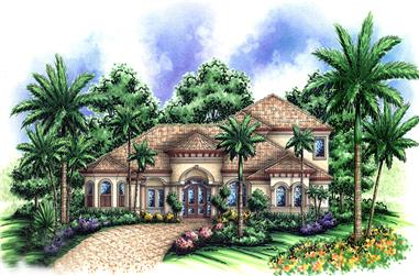3-Bedroom, 4381 Sq Ft Mediterranean House Plan - 175-1168 - Front Exterior
