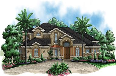 Front elevation of Contemporary home (ThePlanCollection: House Plan #175-1169)