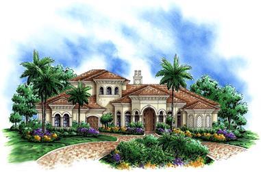 4-Bedroom, 4766 Sq Ft Mediterranean House Plan - 175-1171 - Front Exterior