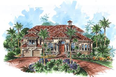 Front elevation of Mediterranean home (ThePlanCollection: House Plan #175-1172)