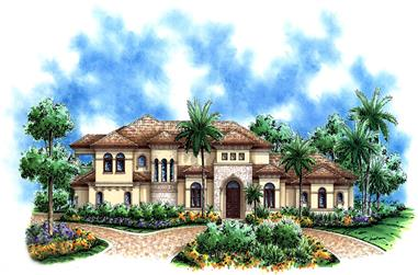 Front elevation of Contemporary home plan (ThePlanCollection: House Plan #175-1173)