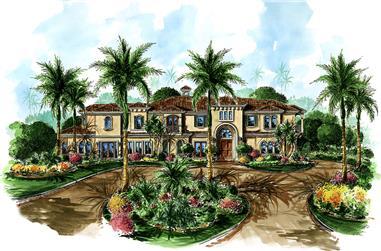 4-Bedroom, 4802 Sq Ft Mediterranean Home Plan - 175-1174 - Main Exterior