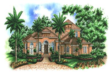 Front elevation of Mediterranean home (ThePlanCollection: House Plan #175-1175)