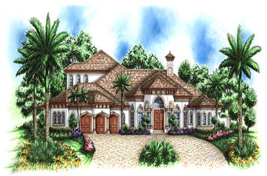 Front elevation of Mediterranean home plan (ThePlanCollection: House Plan #175-1176)