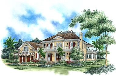 Front elevation of Florida Style home (ThePlanCollection: House Plan #175-1177)