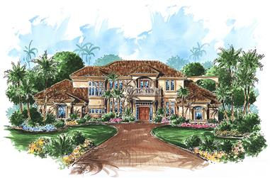 4-Bedroom, 5223 Sq Ft Mediterranean House Plan - 175-1178 - Front Exterior