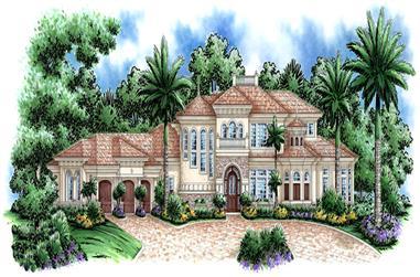 3-Bedroom, 5604 Sq Ft Coastal Home Plan - 175-1179 - Main Exterior