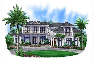Front elevation of Florida Style home (ThePlanCollection: House Plan #175-1180)