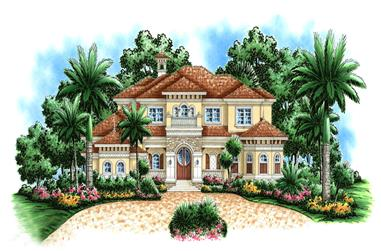 3-Bedroom, 6197 Sq Ft Mediterranean Home Plan - 175-1181 - Main Exterior