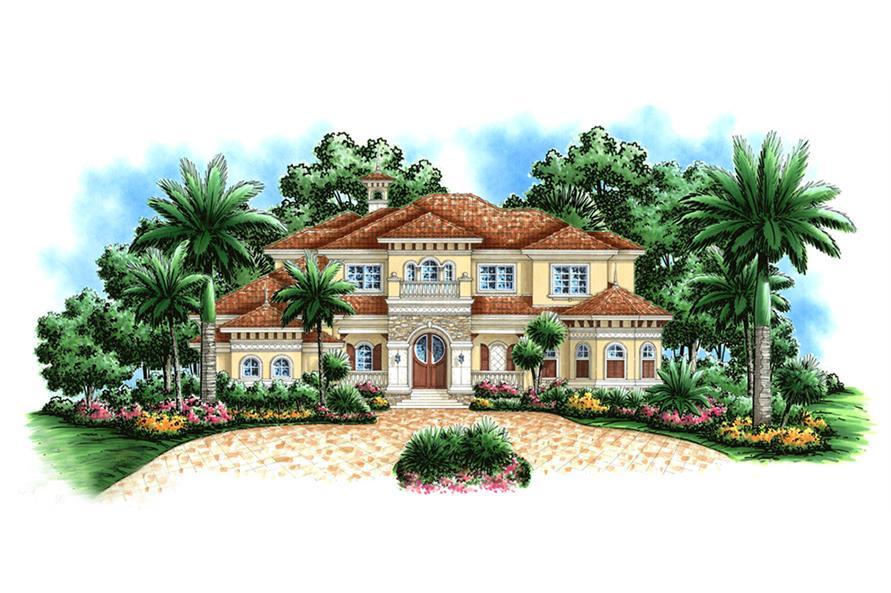 3-Bedroom, 6197 Sq Ft Mediterranean Home Plan - 175-1181 - Main Exterior