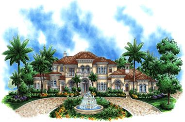 4-Bedroom, 6295 Sq Ft Mediterranean House Plan - 175-1182 - Front Exterior